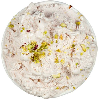 Mascarpone raspberry with toasted pistachio
